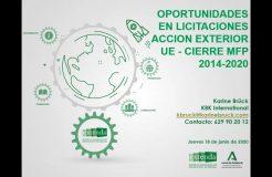"""Webinario """"Oportunidades en licitaciones Acción Exterior UE. Cierre MFP 2014-2020"""""""