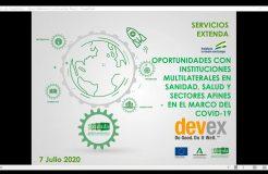 """Webinario """"Oportunidades con instituciones multilaterales en sanidad, salud y sectores afines en el marco del Covid-19"""""""