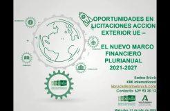 """Webinario """"Oportunidades en licitaciones Acción Exterior UE. El Nuevo Marco Financiero Plurianual 2021-2017"""""""