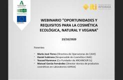 """Webinario """"Oportunidades y requisitos para la cosmética ecológica, natural y vegana"""""""