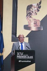 El presidente de Onubafruit, Antonio Tirado, durante su intervención tras recibir el Premio Alas a la 'Empresa Exportadora'