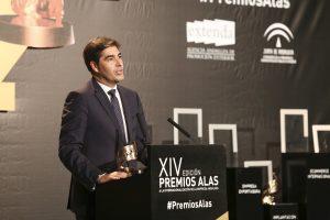 El presidente de Prodiel, Ángel Haro, durante su intervención tras recibir el Premio Alas en 'Implantación Exterior'