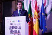 El presidente de la Junta de Andalucía, Juanma Moreno, durante la inauguración del foro empresarial Andalucía Portugal